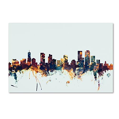 Denver Colorado Skyline Blue by Michael Tompsett, 22x32-Inch Canvas Wall Art