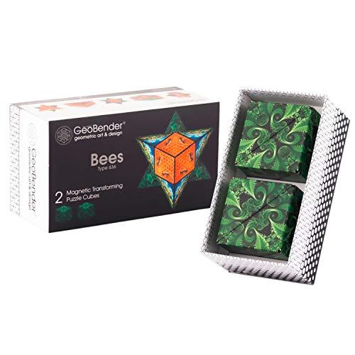 GeoBender - Cubo magnetico 3D 2 x Bees con 104 variaciones - Juguete antiestres de Rompecabezas para niños y Adultos - Juegos de Puzzle para Aprender mágico - Infintiy Cube de Jugar de Aprendizaje