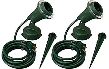 Woods Outdoor Floodlight Fixture with Stake  6-Feet Cord 120V Green   2 Pack