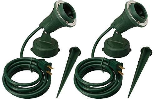 Woods Outdoor Floodlight Fixture with Stake (6-Feet Cord, 120V, Green) (2 Pack)