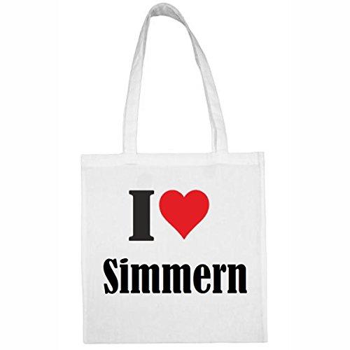 Tasche I Love Simmern Größe 38x42 Farbe Weiss Druck Schwarz