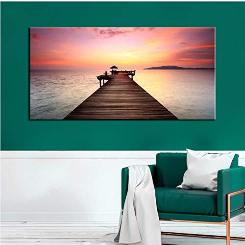 Cczxfcc Modern Seascape Painting Prints on Canvas Wall Art Poster Wooden Bridge Landscape For Living Room Home Decoration-30cmx45cm