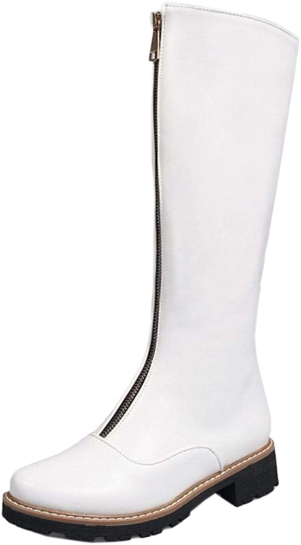 AicciAizzi Women Round Toe Long Boots Zip
