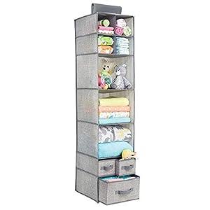 mDesign Organizador de tela con 7 estantes y 3 cajones – Armario de tela para ropa de bebé y otros accesorios – Estantería colgante para artículos de bebés y juguetes – gris