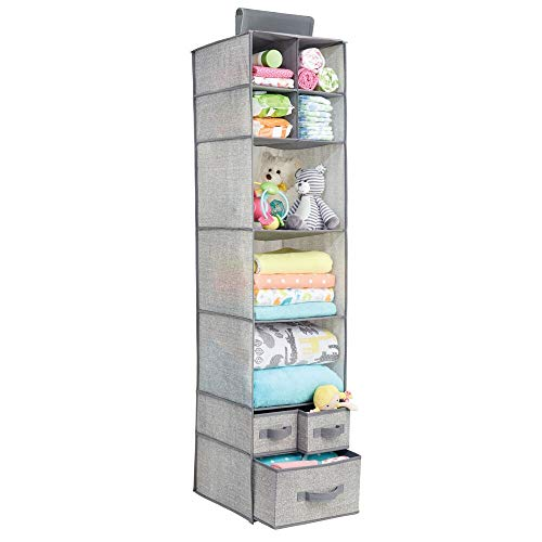 mDesign Soft Fabric Over Closet Rod Hanging Storage Organizer with 7 Shelves and 3 Removable Drawers for Child/Kids Room or Nursery - Textured Print - Gray