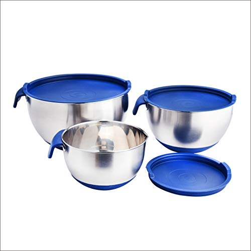ARC USA, KTE13, Stainless Steel Mixing Bowl set, with Lids, Non-Slip Silicone Bottom, Handle, Pour Spouts and Measurement Marks (3pcs set with spout)