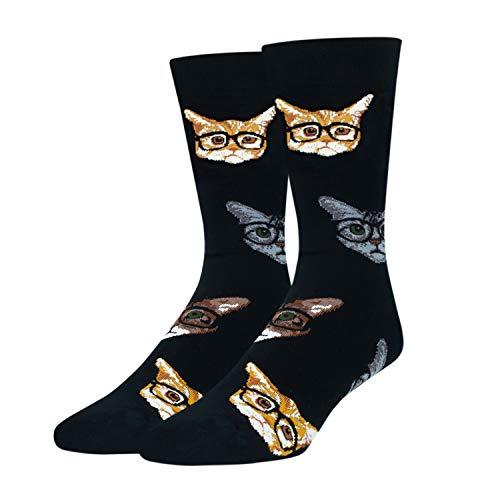 HAPPYPOP Funny Cat Gifts for Cat Lovers Cat Socks Men Boys Crazy Socks for Men Cat Dad Gifts