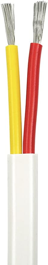 12//2 AWG Duplex Flat DC Marine Wire Spool 25 ft USA Made - Red//Yellow