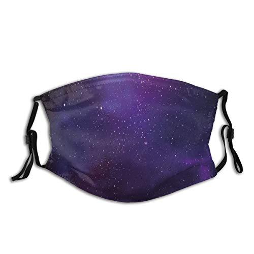 Gesicht Mund Abdeckung Galaxy Nebula Illustration Deep Space Sternhaufen und Sternbild Milchstraße Sturmhaube Wiederverwendbare Winddichte Anti-Staub-Mund Bandanas Halsmanschette mit 2 Filtern