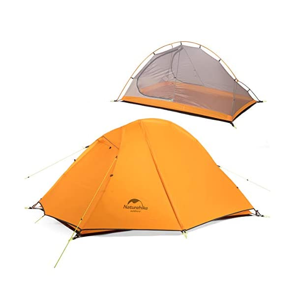 Camping Tent 2 Person Double Layer Backpacking Tent Outdoor Picnic 3 Seasons Waterproof Camping Tent Portable 20D Silicon Ultralight Dome Tent for Wild Trekking Cycling Climbing Hiking (Orange)