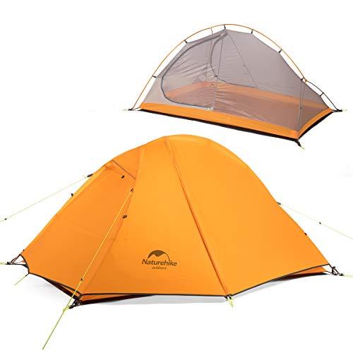 iBasingo Ultraleichtes Doppelschicht Zelt für 2 Personen Im Freien Picknick 3 Seasons wasserdichtes Zelt Camping tragbar 20D Silizium Wandern Zelt