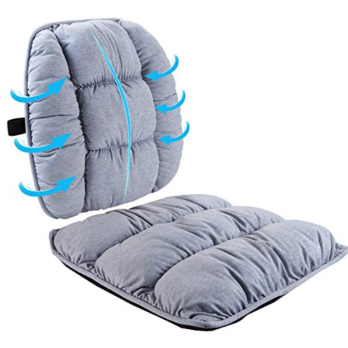 Big Hippo Seat Cushion & Lumbar Support Pillow for Office Chair, Car, Wheelchair - Orthopedic Seat Cushion Lumbar Back Pillow Set for Tailbone, Lower Back Pain, Sciatica Relief