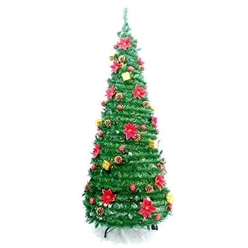 ALEKO CTF71H24 Instant Pop Up Christmas Holiday Tree with Decorations 6 Foot
