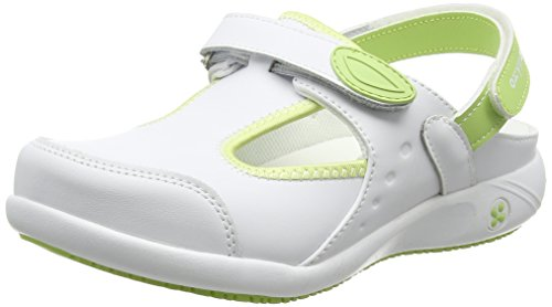 Safety Jogger Clogs for Women - Lightweight Leather Safety Shoe, Ideal for Hospital, Kitchen or Garden, Slip Resistant and Shock Absorbing Comfortable Clog, Oxypas Carin White/Light Green, 5 UK 38 EU