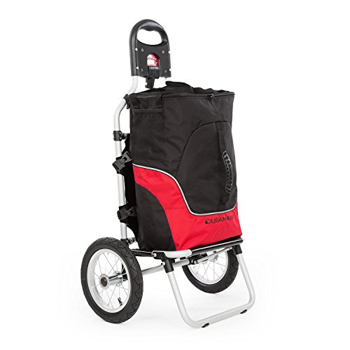 Duramaxx Carry Grey - fietskar, trolley, vrachtkar, aansluitklemmen voor fietskoppeling, 12 inch luchtbanden, uitneembare transporttas, 20 kg maximale belasting, zwart-rood