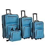 Rockland Journey Softside Upright Luggage Set, Turquoise, 4-Piece...