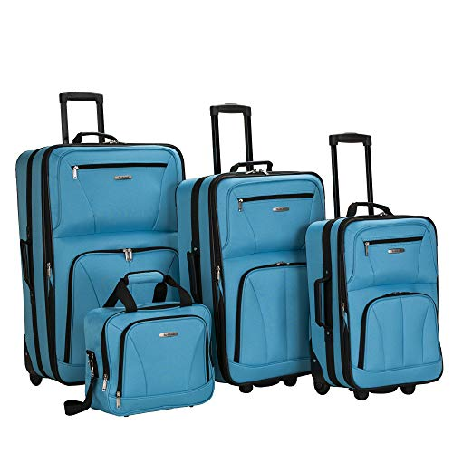 Rockland Journey Softside Upright Luggage Set, Turquoise, 4-Piece (14/19/24/28)