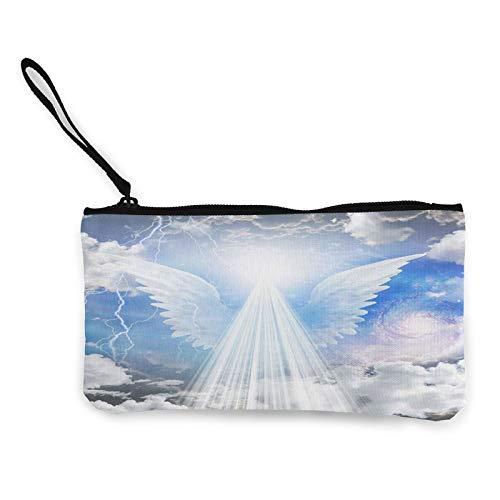 Moneda de lona, bolso de curación de ángel, bolsa de cosméticos de viaje con cremallera, bolsa de maquillaje multifunción para teléfono móvil, paquete de lápices con asa