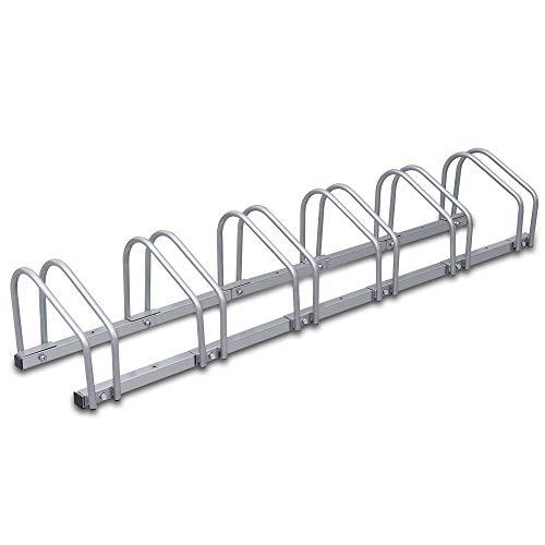 wolketon Fahrradständer Für 6 Fahrräder Boden- und Wandmontage Stahl verzinkt, 160 x 32 x 26 cm