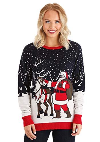 Fun Costumes Adult Santa & Reindeer Unisex Ugly Christmas Sweater 3X Blue