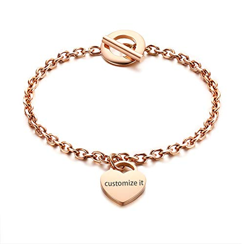 JewelryWe Schmuck Damen Armband mit Gravur, Edelstahl Poliert Herz Anhänger Charm Armkette Armreif, Rosegold
