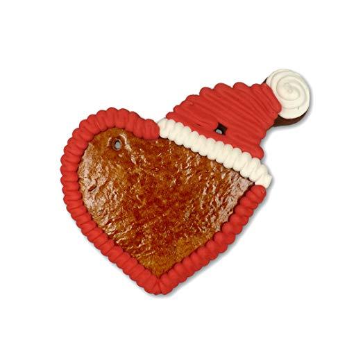 Lebkuchenherz Rohling mit Weihnachtsmütze - 12cm | Lebkuchenherzen selber beschriften gestalten mit Zuckerguss Basteln zu Weihnachten Lebkuchen Herzen Rohlinge von LEBKUCHEN WELT