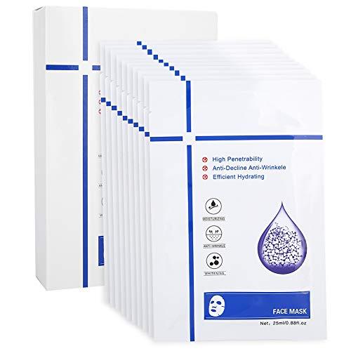 10 Stück Hyaluronsäure Serummasken, aufhellende feuchtigkeitsspendende Porenschrumpfmaske, Hautkollagen Gesichtsmaskenblatt auffüllen