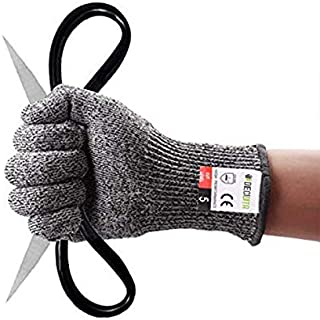 Guanto Antitaglio Livello High Performance 5 Protezione, Gardening Cut Guanti da Lavoro Resistenti, Food Grade Sicurezza Cucina Guanto,Sicurezza e protezione Guanti (1 Paio Large)