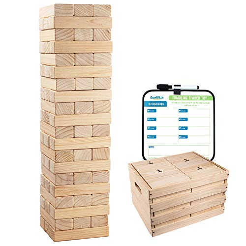 Giant Tumbling Timber Toy - 60 Jumbo Wooden Blocks Floor Game for Kids and Adults, w  Storage Crate - Premium Pine Wood, Life Size- Grows to Over 5-feet While Playing