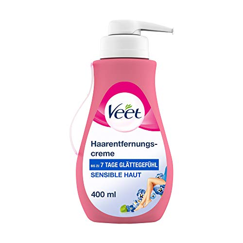 Veet Sensitive Haarentfernungscreme – Schnelle & effektive Haarentfernung für seidig-glatte Haut – Anwendungszeit 5-10 Minuten – 400 ml Spender mit Spatel