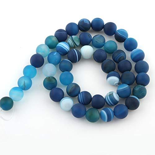 Piedras Preciosas Naturales de ágata de 6 mm, Color Azul Mate, 20 Unidades G127 - Perlas esféricas para Joyas, Pulseras, Collares, Manualidades, Manualidades