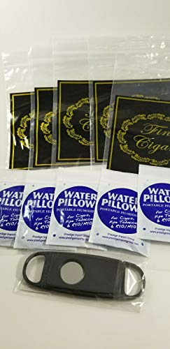 Egytree Bundle of 5 Water Pillows for Cigars 5 Zip Lock Plastic Cigar Bags One Cutter