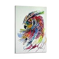 かわいいフクロウキャンバスプリント壁の装飾モダンポップアートエントランス絵画キャンバ壁掛けインテリア絵画部屋の装飾額縁付き 20×30inch(50×75cm)