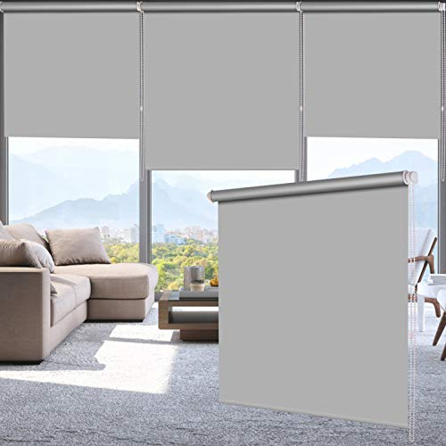LUCKUP 100% Blackout Waterproof Fabric Window Roller Shades Blind Thermal InsulatedUV Protectionfor BedroomsLiving RoomBathroomThe Office Easy to Install 28quot W x 79quot LGrey