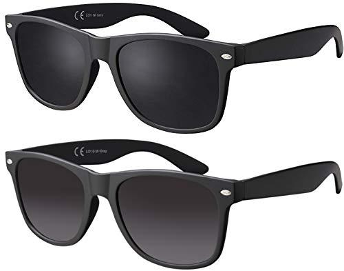 La Optica B.L.M. Gafas de Sol UV400 CAT3 Hombre Muje Vintage - Paquete Doble Montura Negro Mate, Lentes Gris / Negro Degradado