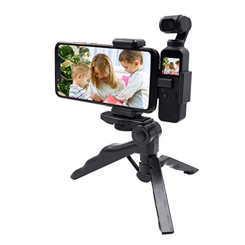 Tripod Phone Holder,Adjustable Clamp Rotates Vertical and Horizontal Tripod Adapter Cell Phone Holder, Fits All Phones (Black)