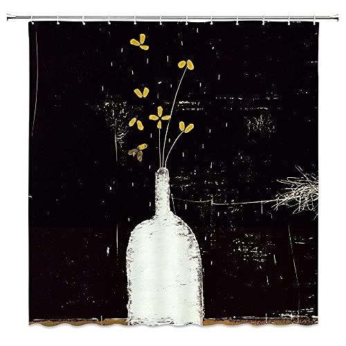Abstrakte Duschvorhang Orchidee Blume Zweig in weißer Vase Kunst Illustration Bild Vintage Badezimmer Dekor Zubehör Stoff Polyester wasserdicht, schwarz gelb