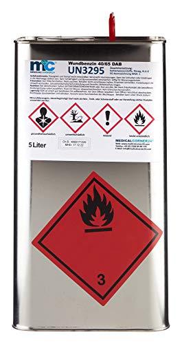 Medicalcorner24 Wundbenzin 40/65, Reinigungsbenzin, Leichtbenzin, UN3295, flüssiges Lösungsmittel, 5 L