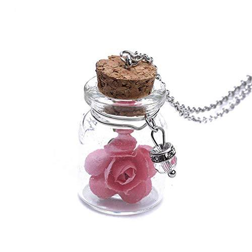 UBL PULABOLuminous - Collar con colgante de playa, diseño de flores, color rosa, cómodo y respetuoso con el medio ambiente
