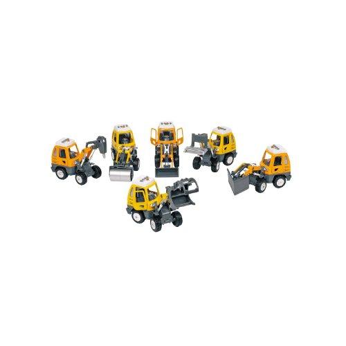 Goki 12107 Baufahrzeug Bagger mit Geräusch & blinkendem Licht, natur (Modell zufällig, 1 Stück)