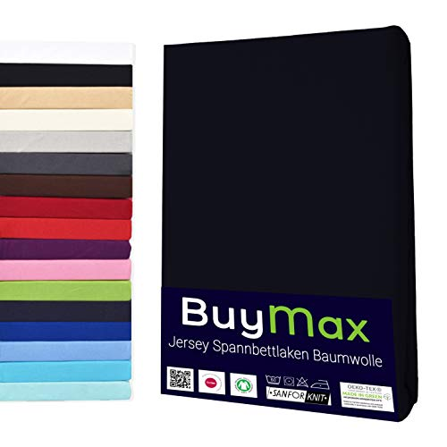 Buymax Spannbettlaken 90x200-100x200 cm Spannbetttuch Bettlaken 100% Baumwolle Jersey Bettbezug für Matratzen bis 25 cm Steghöhe, Schwarz
