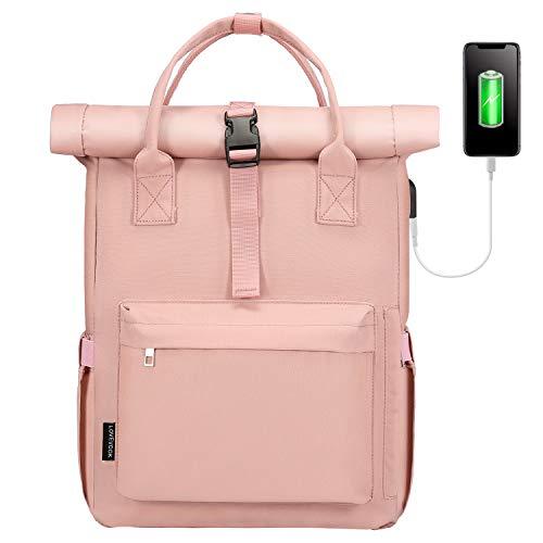 LOVEVOOK Mochila impermeable para hombre y mujer, moderna, con compartimento para portátil Rosa. M