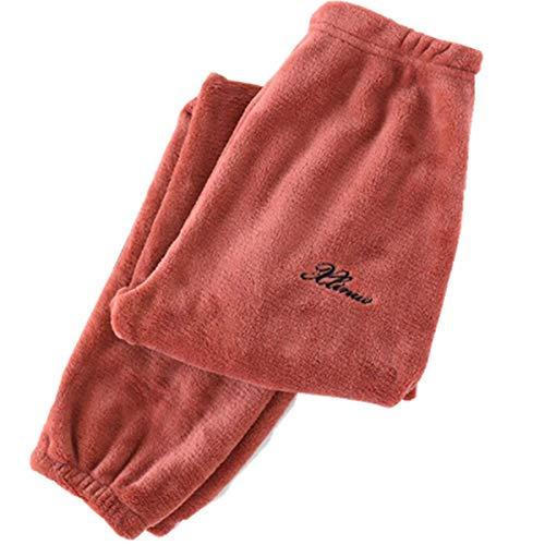 Pantaloni Pigiama in Pile Morbido Invernale Unisex Pantaloni Lounge Pantaloni Caldi in Pile di Corallo Pantaloni da casa Teddy Sleepwear Tinta Unita Pantaloni Caldi per Uomo Donna