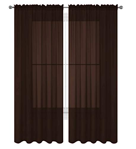 "Luxury Discounts 2 Piece Solid Chocolate Brown Elegant Sheer Curtains Fully Stitched Panels Window Treatment Drape 55"" X 84"""