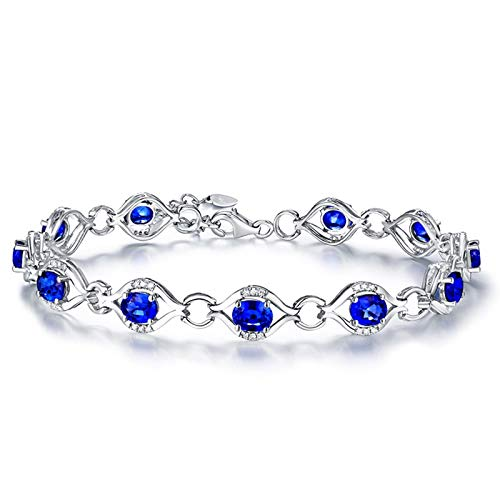 Beydodo Brazalete de Mujer Plata Azul,Pulsera Oro Blanco 18k Redondo con Oval Zafiro Azul 4.6ct Longitud 17cm + 2cm