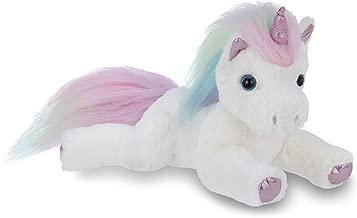 Bearington Lil' Rainbow Shimmers White Plush Stuffed Animal Unicorn, Rainbow Mane, 10 Inches
