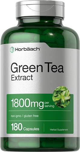 EGCG Green Tea Extract Pills | 1800 mg 180 Capsules | Max Potency | Non-GMO & Gluten Free Supplement | by Horbaach