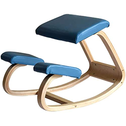 Jakroo Ergonomisch für Kniender Stuhl, Büromöbel Ergonomisch für Zuhause, Hölzerner Schaukelstuhl, Computerhaltung,Blau