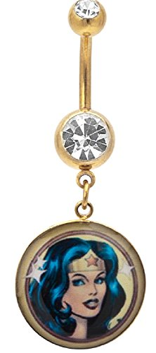 Belly Button Ring Navel 14G Gold Plated Press Fit Double Clear CZ Gem Wonder Woman Face