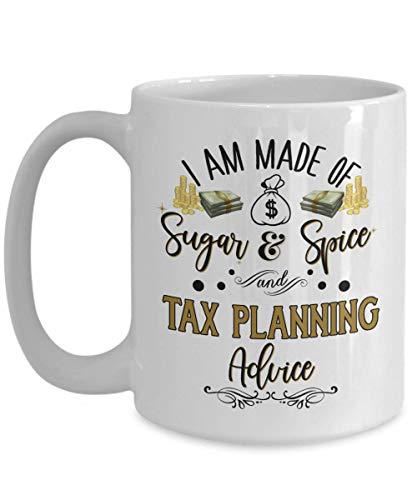 Caneca de preparação de impostos para mulheres, conselho de planejamento tributário, agradecimento, ideia de agradecimento para contador de impostos, colega de trabalho, 11 ou 425 g, Ce branco